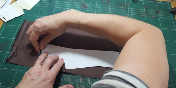 cutting of the shoe reinforcement from fabric