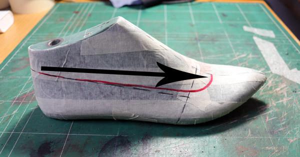 the neckline measurement in making flat ballet shoes