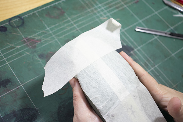 attaching of the second layer of the masking tape