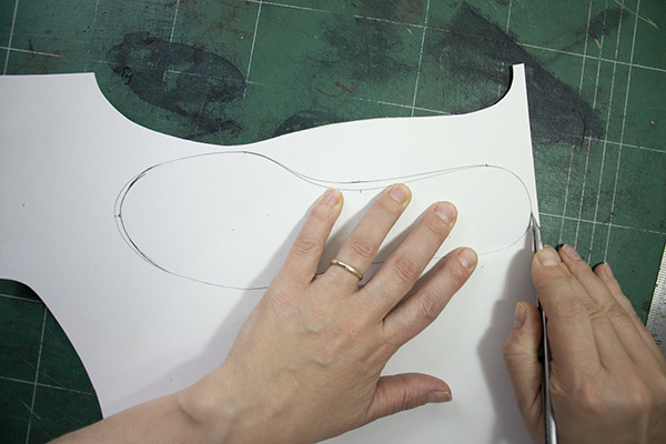 cutting the sockliner pattern