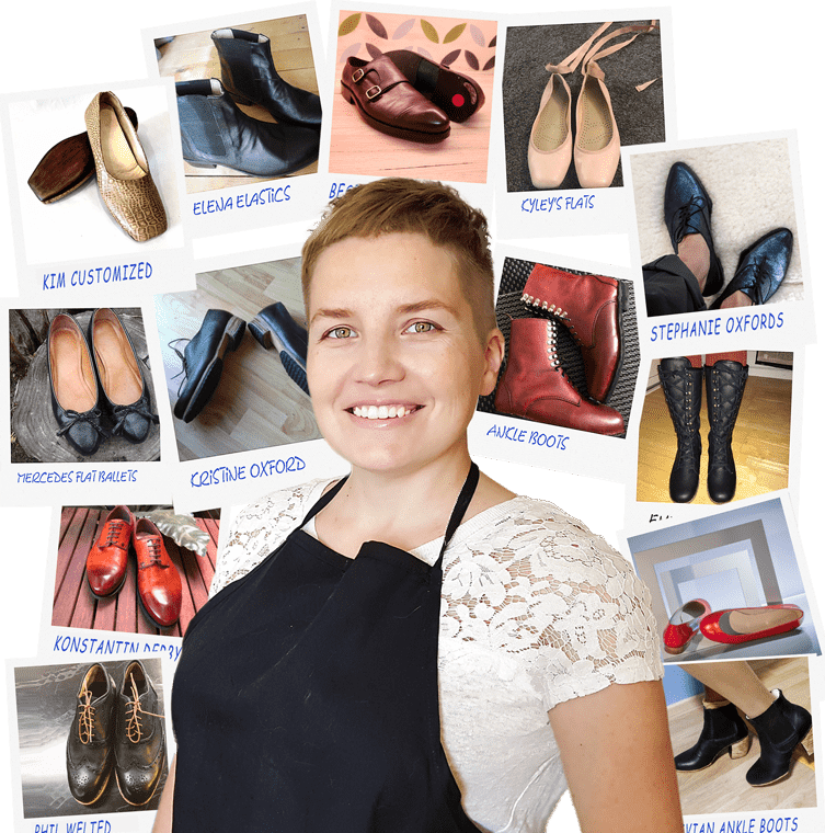 shoemaking students work